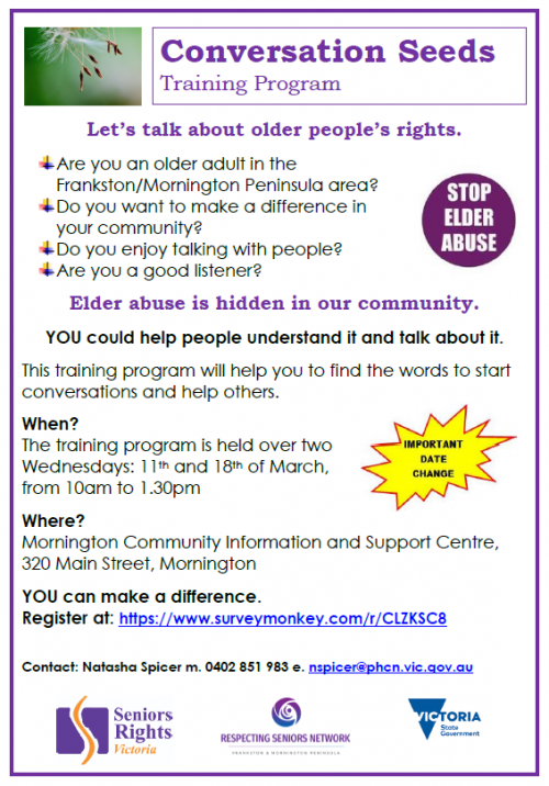 Conversation Seeds - training program for discussing elder abuse flyer