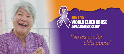 World Elder Abuse Awareness Day banner depicting older woman