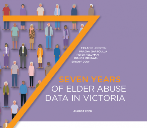 An orange 7 against a purple background covered in cartoon older people. Title of the publication: Seven Years of Elder Abuse Data in Victoria.