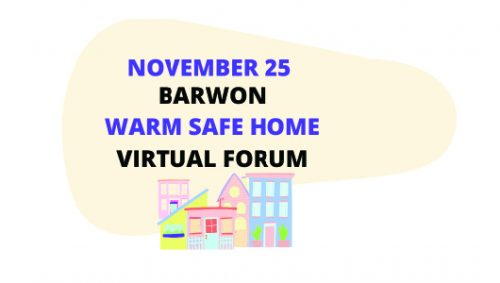 Graphic advertising the Warm Safe Home Virtual Forum
