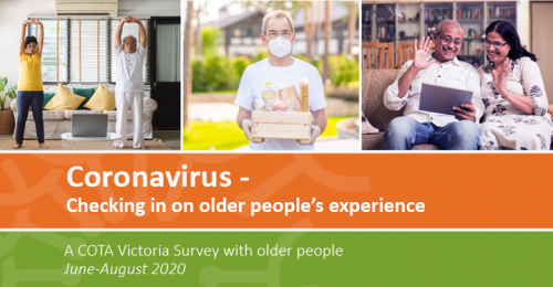 COTA Victoria's survey 'Coronavirus - checking in on the older people's experience.